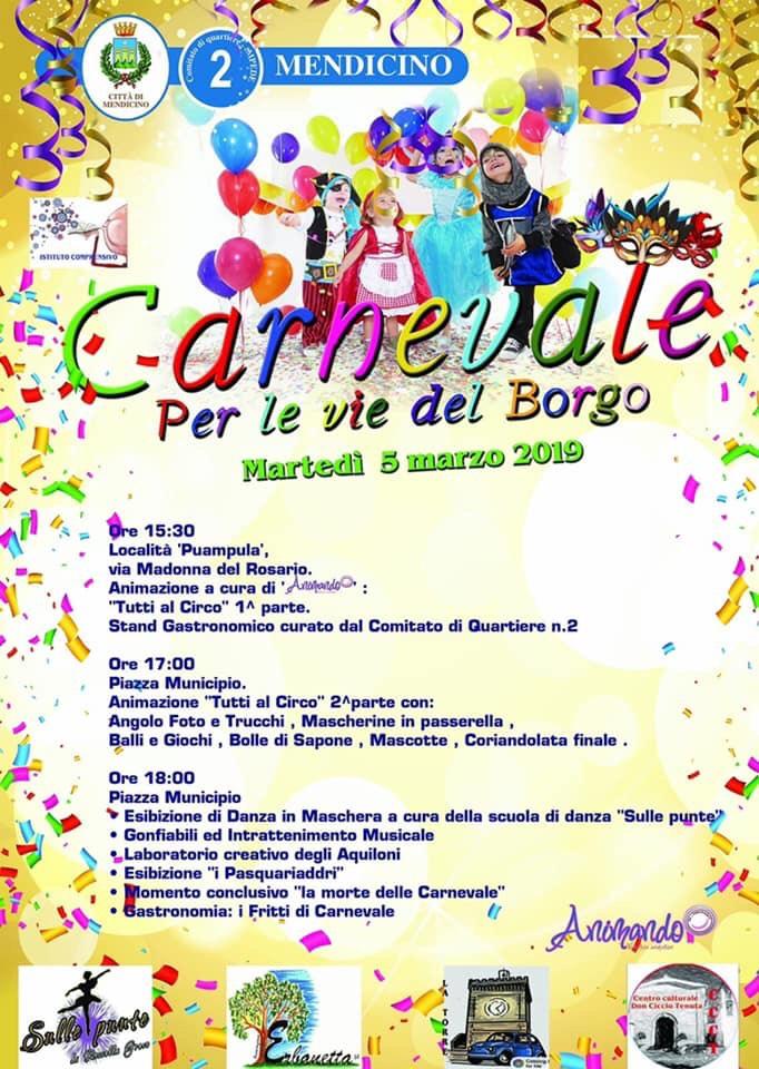 A Mendicino la festa di Carnevale dedicata ai bambini