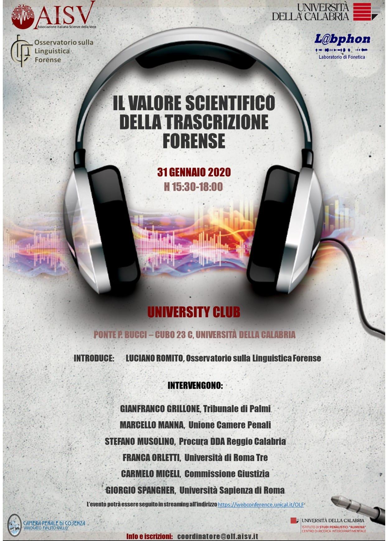 Unical, domani tavola rotonda sul valore scientifico della trascrizione forense