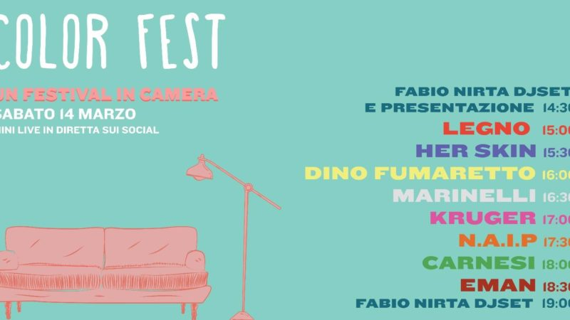 """""""Color Fest"""" Festival in camera. Sabato 14 marzo dalle ore 14:30 mini live in diretta sui social"""