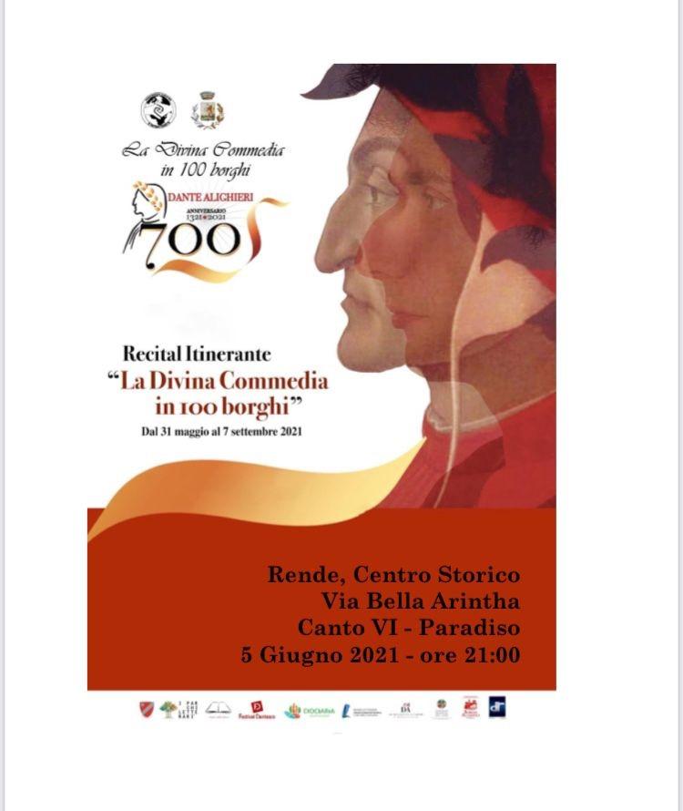 """Rende: si riparte dalla cultura con il recital itinerante """"La Divina Commedia in 100 borghi"""""""