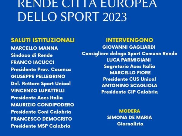 Rende Città Europea dello Sport 2023: venerdì la presentazione alla città della candidatura