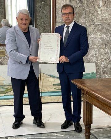 A Gerardo Sacco la cittadinanza onoraria di Cosenza
